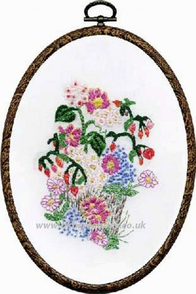 Flower Pot Embroidery Hoop Kit